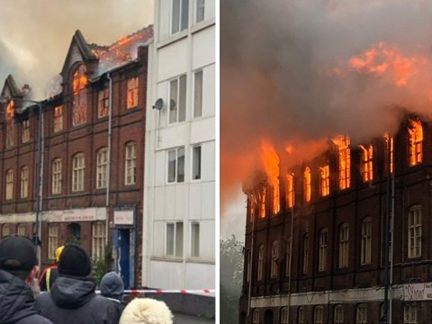 Nearly fifty firefighters battle huge fire at derelict warehouse in Walsall