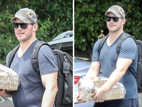 Chris Pratt continues Katherine Schwarzenegger wedding celebrations as he's spotted with gift basket at the gym