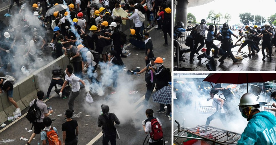 Violent clashes broke out in Hong Kong on June 12 as police tried to stop protesters storming the city (Picture: Getty)