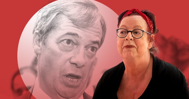 comedian jo brand and nigel farage