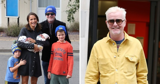 Chris Evans outside hospital with wife Natasha Shishmanian, sons Eli and Noah, and newborn twins Walt and Boo