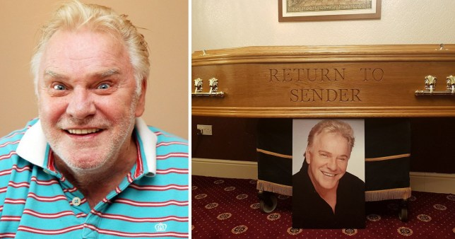Freddie Starr coffin engraved with Elvis Presley song title
