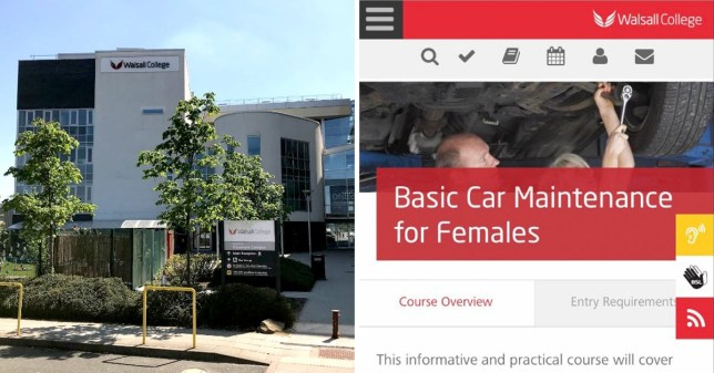 Walsall College has offered a course named 'Basic Car Maintenance for Females'