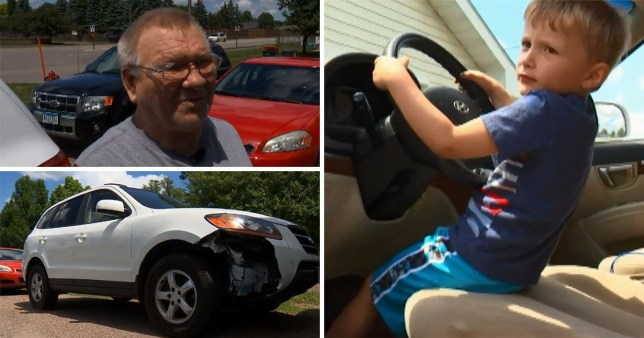 A four-year-old boy took his love for sweets to a new level after stealing his great-granddad's car to go buy some (Picture: Fox 9)