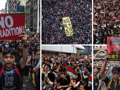 Aerial pictures show thousands of protesters cramming into Hong Kong streets