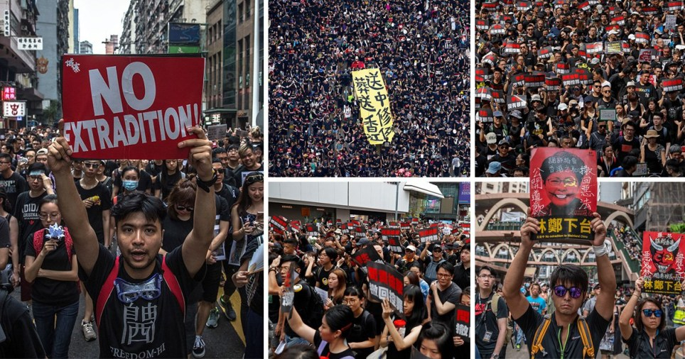 Aerial photos show thousands of Hong Kong protesters crowding streets