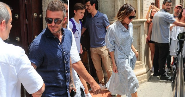 Victoria and David Beckham in Seville, Spain