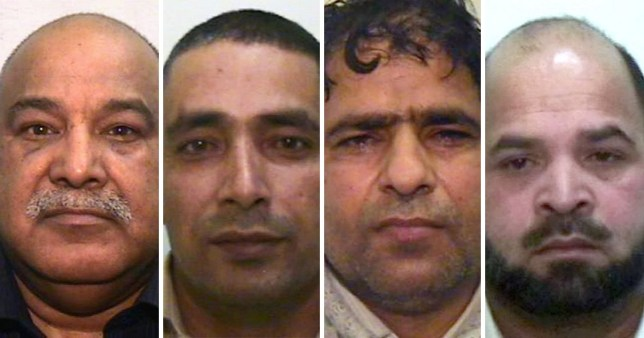 Members of the Rochdale grooing gang who have dual UK-Pakistani citizenship have still not been deported pictured is Shabir Ahmed, 66, Qari Abdul Rauf, 50, Abdul Aziz, 48 and Adil Khan, 49,