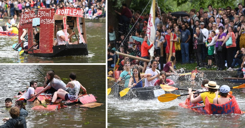 Cambridge students poke fun at Brexit during 'Suicide Sunday' cardboard boat race