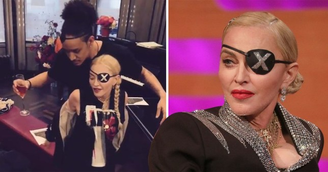 Madonna twerking with a dancer and wearing an eye patch on The Graham Norton Show