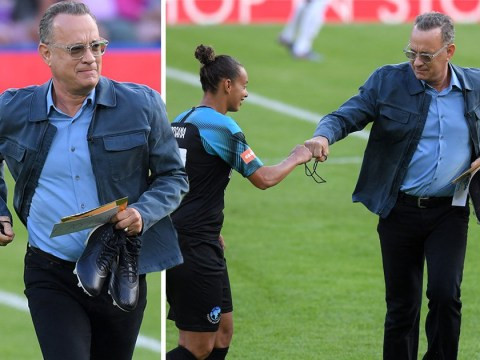 Tom Hanks has a ball as he blows whistle for Soccer Aid match ahead of Toy Story 4