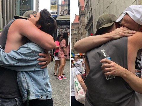 Dad offers free hugs to LGBT kids who have been rejected by their families at Pride parade