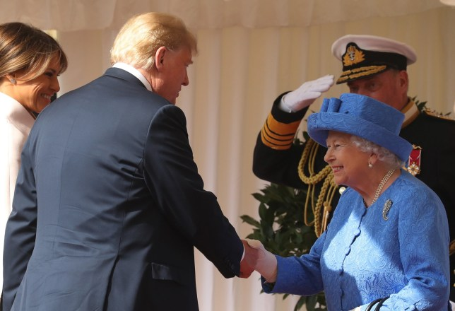 WINDSOR, ENGLAND - JULY 13: Queen Elizabeth II greets President of the United States, Donald Trump and First Lady, Melania Trump at Windsor Castle on July 13, 2018 in Windsor, England. Her Majesty welcomed the President and Mrs Trump at the dais in the Quadrangle of the Castle. A Guard of Honour, formed of the Coldstream Guards, gave a Royal Salute and the US National Anthem was played. The Queen and the President inspected the Guard of Honour before watching the military march past. The President and First Lady then joined Her Majesty for tea at the Castle. (Photo by Chris Jackson/Getty Images)