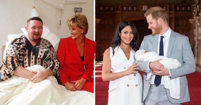The Duke and Duchess of Sussex shared a picture of Diana, Princess of Wales, meeting Gerard McGrath at the London Lighthouse clinic in 1996 (Picture: PA)