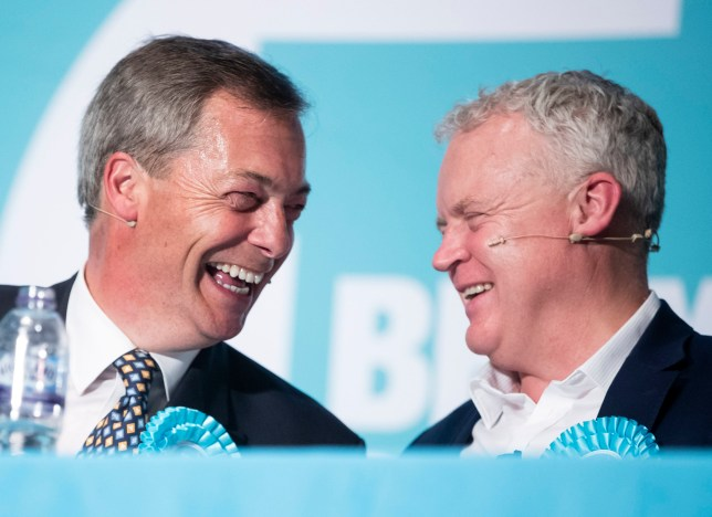 Brexit Party leader Nigel Farage (left) and Brexit Party parliamentary candidate Mike Greene (right) during a Brexit Party rally at the Broadway Theatre in Peterborough ahead of the upcoming by-election.