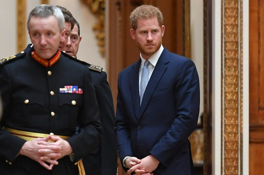 Britain's Prince Harry, Duke of Sussex looks on as US President Donald Trump views US items of the Royal Collection at Buckingham palace at Buckingham Palace in central London on June 3, 2019, on the first day of their three-day State Visit to the UK. - Britain rolled out the red carpet for US President Donald Trump on June 3 as he arrived in Britain for a state visit already overshadowed by his outspoken remarks on Brexit. (Photo by MANDEL NGAN / AFP)MANDEL NGAN/AFP/Getty Images
