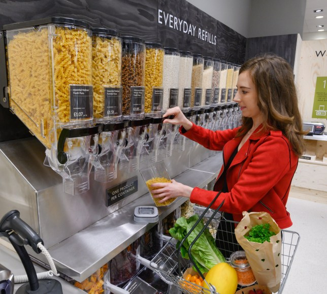 """Undated Waitrose & Partners handout photo of the everyday refill zone available in the Waitrose store in Botley Road, Oxford, as part of the """"Waitrose Unpacked??? trial, which will allow customers to be able to fill up their own containers with products. PRESS ASSOCIATION Photo. Issue date: Tuesday June 4, 2019. Waitrose & Partners said the ideas have the potential to save on thousands of tonnes of unnecessary plastic and packaging. See PA story ENVIRONMENT Waitrose. Photo credit should read: Waitrose & Partners/PA Wire NOTE TO EDITORS: This handout photo may only be used in for editorial reporting purposes for the contemporaneous illustration of events, things or the people in the image or facts mentioned in the caption. Reuse of the picture may require further permission from the copyright holder."""