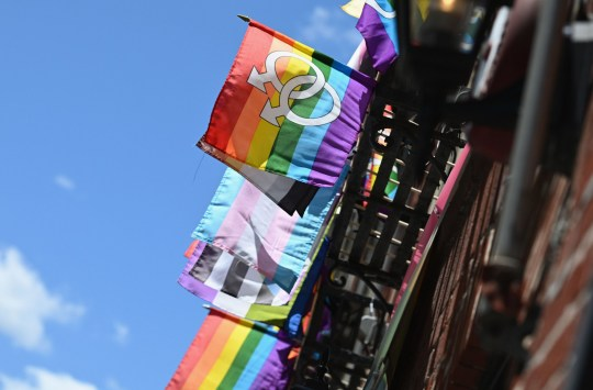 Rainbow and transgender flags are seen outside 'The Stonewall Inn'