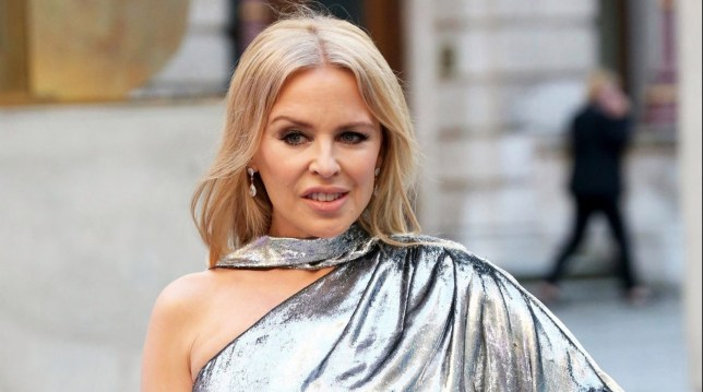 Kylie Minogue in silver dress