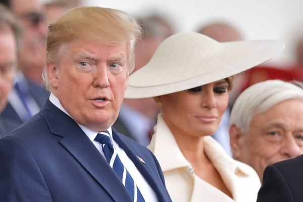 Donald Trump and First Lady Melania Trump at the 75th anniversary of D-Day event in Portsmouth
