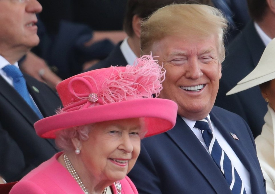 (left to right) Queen Elizabeth II and US President Donald Trump during the commemorations for the 75th Anniversary of the D-Day landings at Southsea Common in Portsmouth. PRESS ASSOCIATION Photo. Picture date: Wednesday June 5, 2019. See PA story MEMORIAL DDay. Photo credit should read: Andrew Matthews/PA Wire