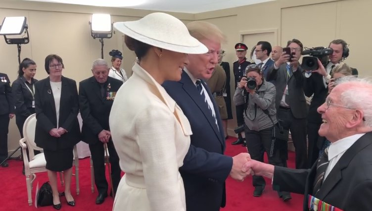 Veteran Thomas Cuthbert, 93, made a flirtatious comment about the First Lady Told President Trump: 'If it wasn't for you, and if only I was 20 years younger' / Veteran flirts with Melania Trump Credit: PA