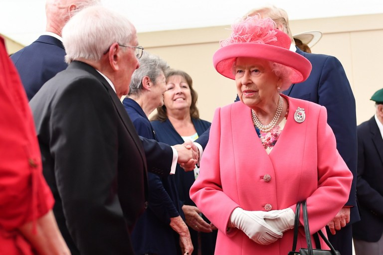 Queen Elizabeth II meets Navy veteran Thomas Cuthbert, 93, during commemorations for the 75th Anniversary of the D-Day landings at Southsea Common, Portsmouth. PRESS ASSOCIATION Photo. Picture date: Wednesday June 5, 2019. See PA story MEMORIAL DDay. Photo credit should read: Jeff J Mitchell/PA Wire