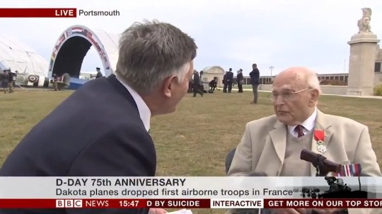 Eric Chardin / re: A D-Day veteran who landed on the Normandy beaches at 19 years old was shocked to find himself live on national television. Eric Chardin, 94, thought he was recording a small video clip for the BBC about the invasion's 75th anniversary, when it was revealed he'd been seen speaking 'across the nation' with presenter Simon McCoy. UNCLEARED Grabs/D-Day veteran learns he's live on BBC https://twitter.com/BBCSimonMcCoy/status/1136290343685459971