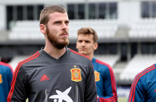 epa07631201 Spanish national soccer goalkeeper David de Gea attends a training session in Torshavn, Faroe Islands, 06 June 2019. Spain will face the Faroe Islands in their UEFA EURO 2020 qualifying soccer match on 07 June 2019. EPA/JENS KRISTIAN VANG