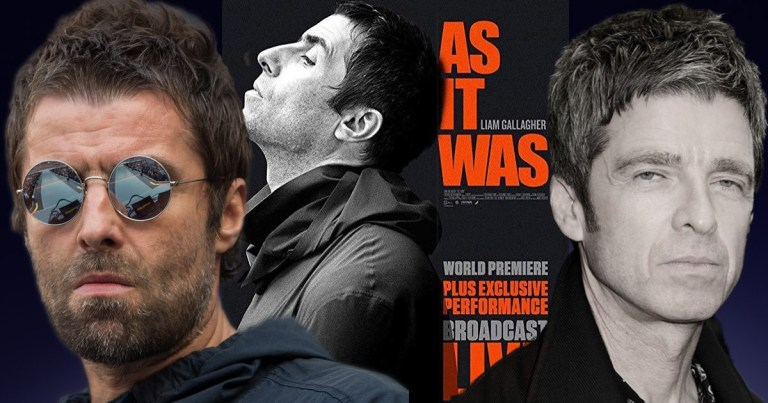 Liam and Noel Gallagher with As It Was film poster