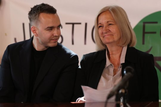 Sally Challen with her son David, during a press conference in central London after she left the Old Bailey where she was told that she will not face a retrial over the death of her husband Richard Challen in 2010. PRESS ASSOCIATION Photo. Picture date: Friday June 7, 2019. Challen, 65, claims she suffered years of controlling and humiliating abuse before she killed 61-year-old Richard Challen in August 2010. The mother-of-two, who is known as Sally, had been jailed for life for the murder of the former car dealer following a trial at Guildford Crown Court in 2011, but the conviction was quashed last month. See PA story COURTS Johnson. Photo credit should read: Yui Mok/PA Wire