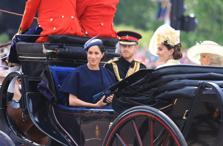 The Duke and Duchess of Sussex with the Duchess of Cambridge and the Duchess of Cornwall make their way along The Mall to Horse Guards Parade, in London, ahead of the Trooping the Colour ceremony, as The Queen celebrates her official birthday. PRESS ASSOCIATION Photo. Picture date: Saturday June 8, 2019. See PA story ROYAL Trooping. Photo credit should read: Gareth Fuller/PA Wire