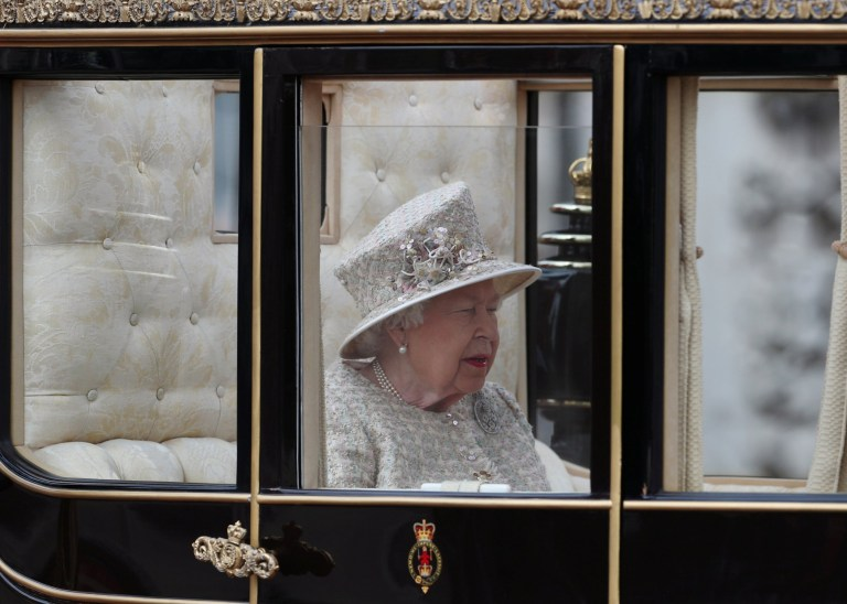 Britain's Queen Elizabeth takes part in the Trooping the Colour parade in central London, Britain June 8, 2019. REUTERS/Hannah Mckay