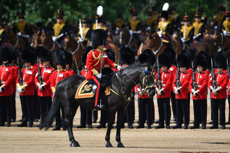 General view during the Trooping the Colour ceremony at Horse Guards Parade in central London, as the Queen celebrates her official birthday. PRESS ASSOCIATION Photo. Picture date: Saturday June 8, 2019. The colour, or ceremonial regimental flag, being paraded this year is from the 1st Battalion Grenadier Guards. See PA story ROYAL Trooping. Photo credit should read: Dominic Lipinski/PA Wire