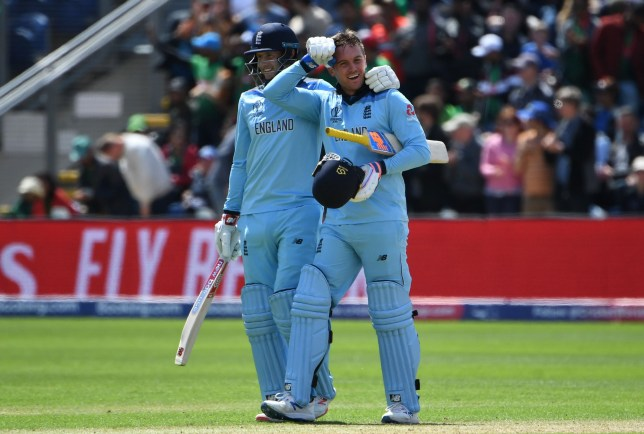England's Jason Roy (R) celebrates after scoring a century (100 runs) with teammate Joe Root during the 2019 Cricket World Cup group stage match between England and Bangladesh at Sophia Gardens stadium in Cardiff, south Wales, on June 8, 2019. (Photo by Paul ELLIS / AFP) / RESTRICTED TO EDITORIAL USEPAUL ELLIS/AFP/Getty Images
