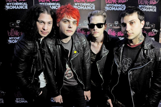 WEST HOLLYWOOD, CA - MAY 23: (L-R) Musicians Ray Toro, Gerard Way, Mikey Way and Frank Iero of My Chemical Romance pose at a press party of announce the 2011 Honda Civic Tour featuring blink-182 and My Chemical Romance at the Rainbow Bar and Grill on May 23, 2011 in West Hollywood, California. (Photo by Kevin Winter/Getty Images)
