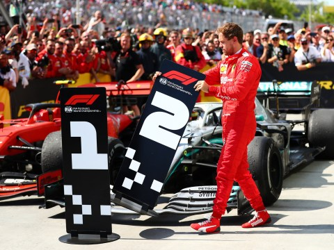 Sebastian Vettel steals Lewis Hamilton's first-place sign after controversial loss in Canadian Grand Prix