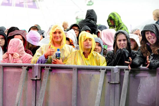 Crowds in the rain at Parklife festival