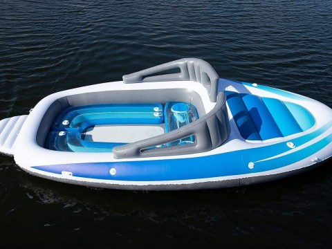 Amazon is selling a massive inflatable speedboat with a built-in drinks cooler