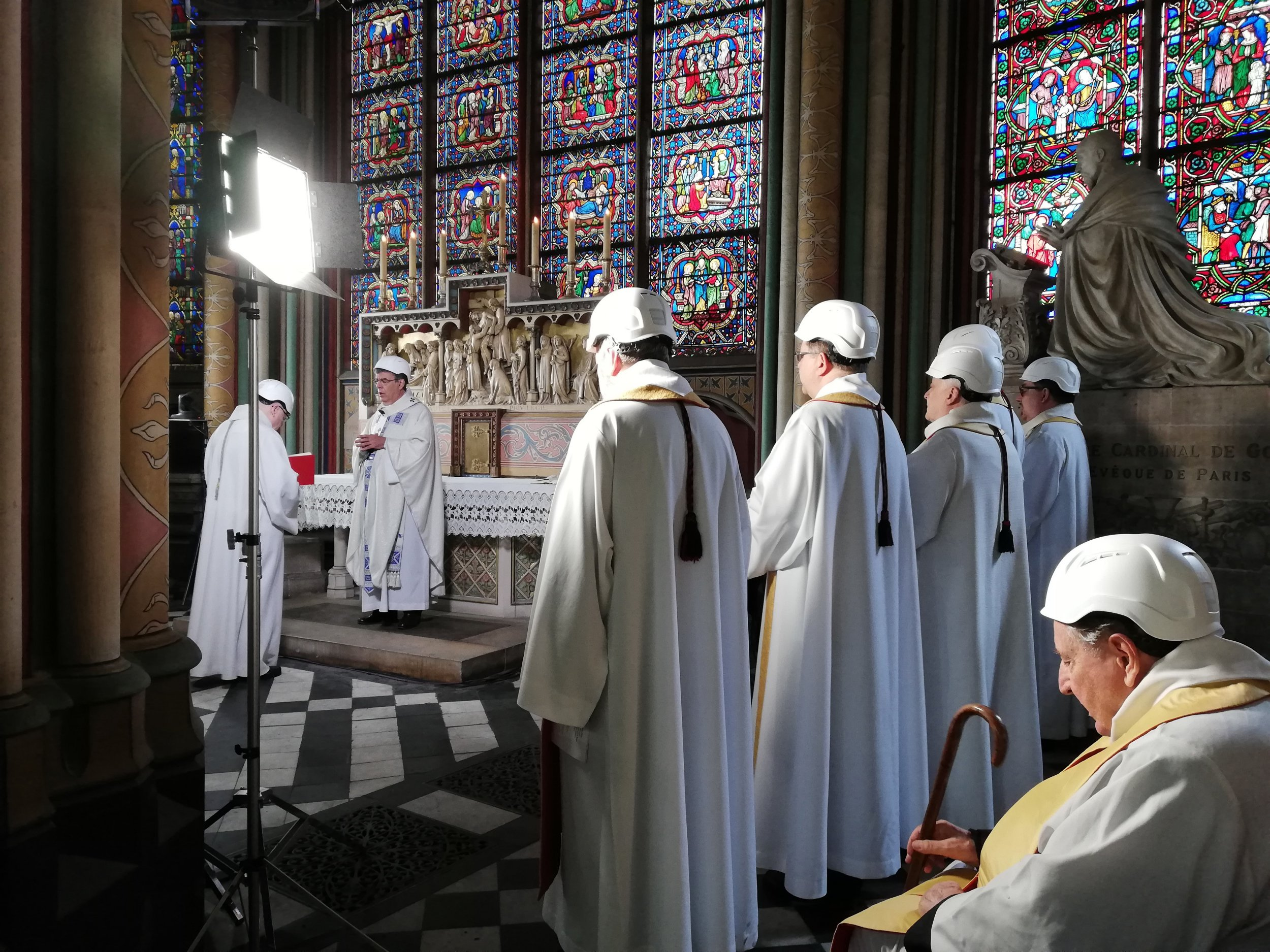 The Archbishop of Paris Michel Aupetit, second left, leads a initial mass in a side chapel, twin months after a harmful glow engulfed a Notre-Dame de Paris cathedral, Saturday Jun 15, 2019, in Paris. (Karine Perret, Pool around AP)
