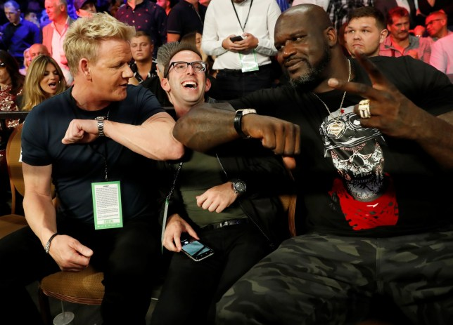 Boxing - Tyson Fury v Tom Schwarz - Heavyweight Fight - MGM Grand Arena, Las Vegas, United States - June 15, 2019 Gordon Ramsey, Justin Mandel and Shaquille O'Neal in the stands during the fight REUTERS/Mike Segar