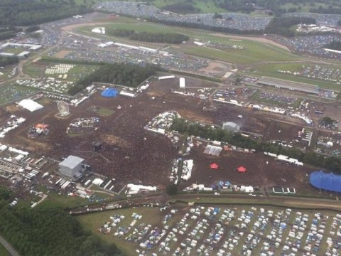 Download festival from the air looks like one big mud bath