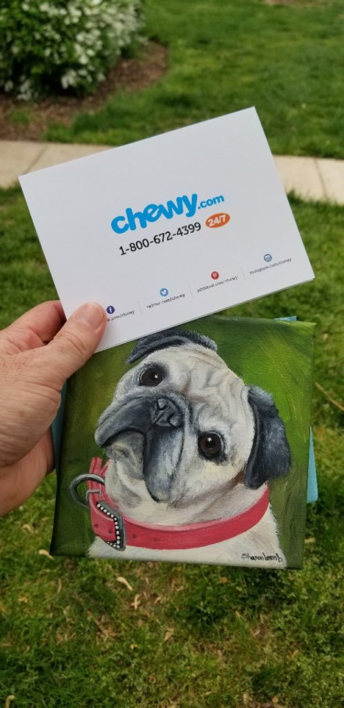The card and painting he received from Chewy.com