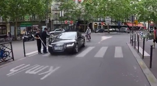 Picture: Newsflare Road rage fight in Paris after Audi driver nearly hits blind man