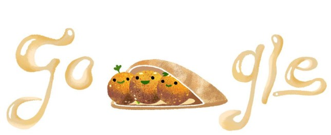 Google doodle celebrating falafel and featuring animated falafel
