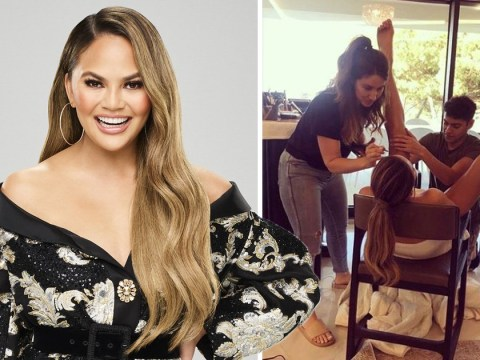 Chrissy Teigen's glam squad looks more like gynaecological exam as 'make-up isn't just for the face'
