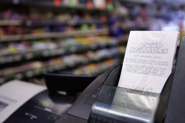LONDON - JANUARY 27: Euromillions tickets are seen in a newsagents on January 27, 2005 in London, England. The european lottery has rolled over for several weeks and is now estimated to have a jackpot of Euro150m, the highest jackpot in the history of the Europe-wide draw. (Photo by Bruno Vincent/Getty Images)