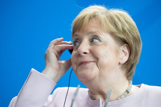 epaselect epa07655575 German Chancellor Angela Merkel speaks during a joint press conference at the Chancellery in Berlin, Germany, 18 June 2019. Merkel and Ukraine's President Volodymyr Zelensky discussed the bilateral relations of their countries during their meeting. EPA/HAYOUNG JEON