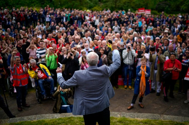 BOOTLE, MERSEYSIDE - MAY 18: Labour party leader Jeremy Corbyn addresses a European Parliament election campaign rally in Derby Parkon May 18, 2019 in Bootle, Merseyside. During the leaders speech he called on voters to defeat the far right in next week's EU election. (Photo by Christopher Furlong/Getty Images)
