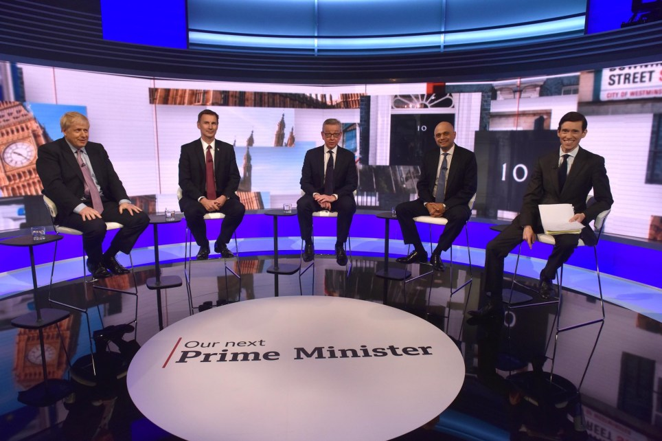 For use in UK, Ireland or Benelux countries only. BBC handout photo of (left to right) Boris Johnson, Jeremy Hunt, Michael Gove, Sajid Javid and Rory Stewart during the BBC TV debate at BBC Broadcasting House in London featuring the contestants for the leadership of the Conservative Party. PRESS ASSOCIATION Photo. Picture date: Tuesday June 18, 2019. See PA story POLITICS Tories. Photo credit should read: Jeff Overs/BBC/PA Wire NOTE TO EDITORS: Not for use more than 21 days after issue. You may use this picture without charge only for the purpose of publicising or reporting on current BBC programming, personnel or other BBC output or activity within 21 days of issue. Any use after that time MUST be cleared through BBC Picture Publicity. Please credit the image to the BBC and any named photographer or independent programme maker, as described in the caption.